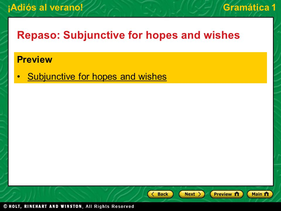 Repaso: Subjunctive for hopes and wishes