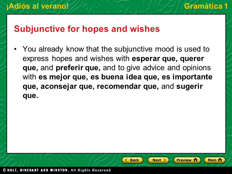 Subjunctive for hopes and wishes