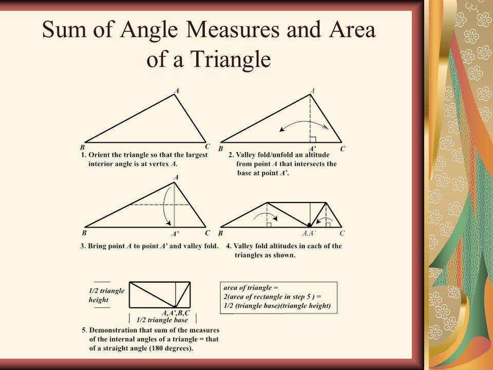 Sum of Angle Measures and Area of a Triangle