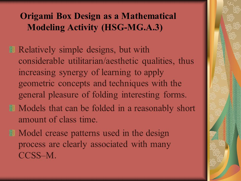 Origami Box Design as a Mathematical Modeling Activity (HSG-MG.A.3)