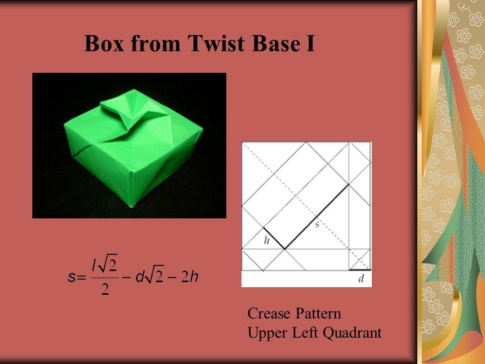 Box from Twist Base I Crease Pattern Upper Left Quadrant