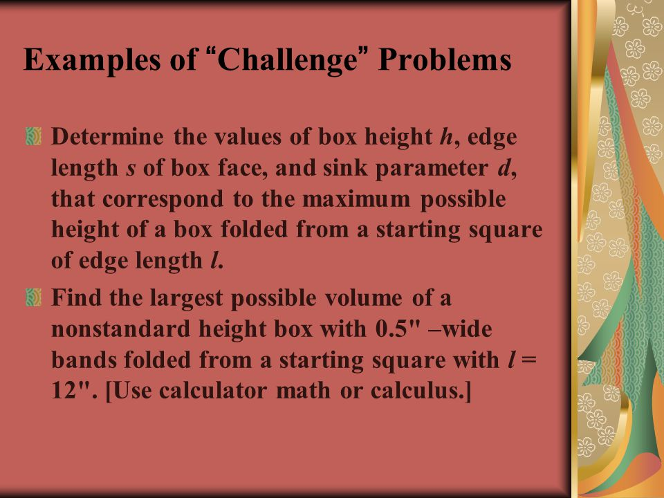 Examples of Challenge Problems