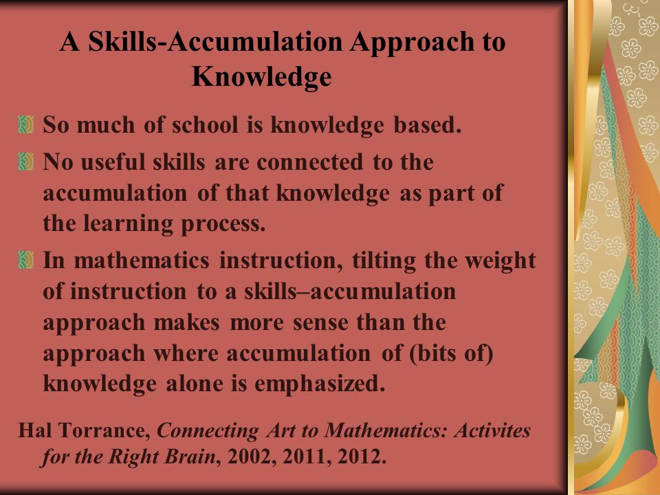 A Skills-Accumulation Approach to Knowledge
