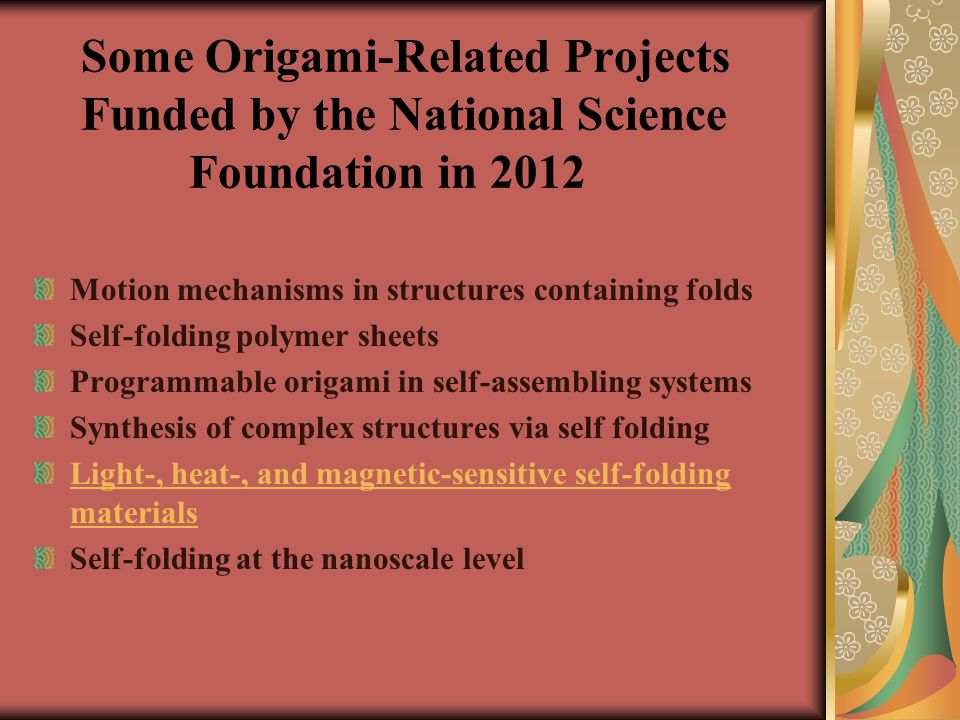 Some Origami-Related Projects Funded by the National Science Foundation in 2012