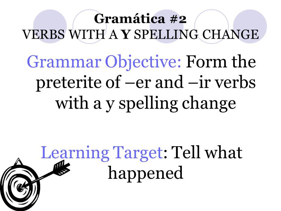 Gramática #2 VERBS WITH A Y SPELLING CHANGE