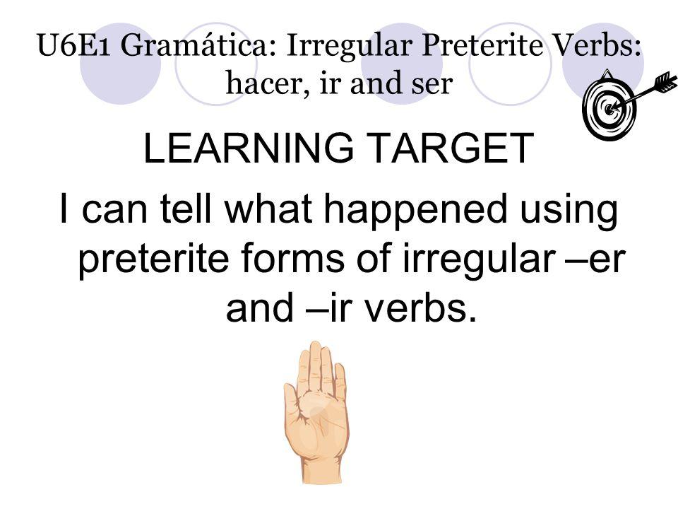 U6E1 Gramática: Irregular Preterite Verbs: hacer, ir and ser