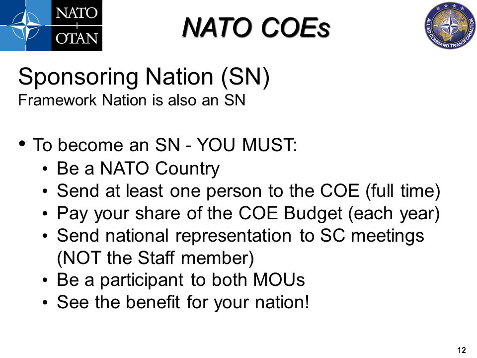 Sponsoring Nation (SN) To become an SN - YOU MUST: