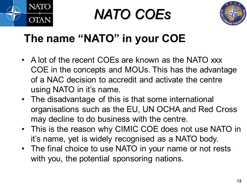 The name NATO in your COE