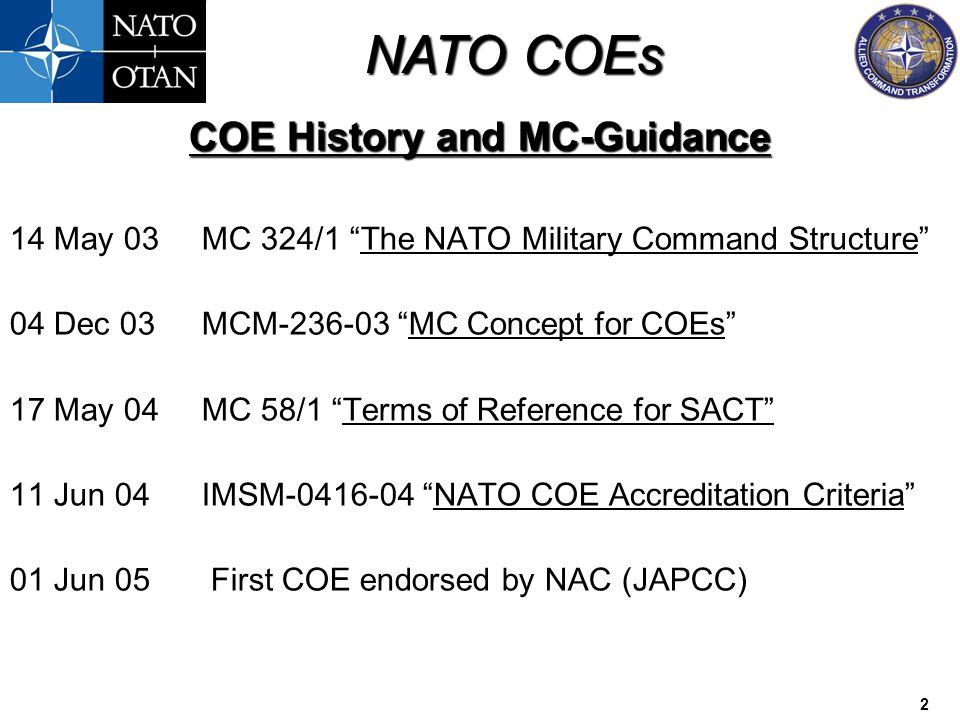 COE History and MC-Guidance
