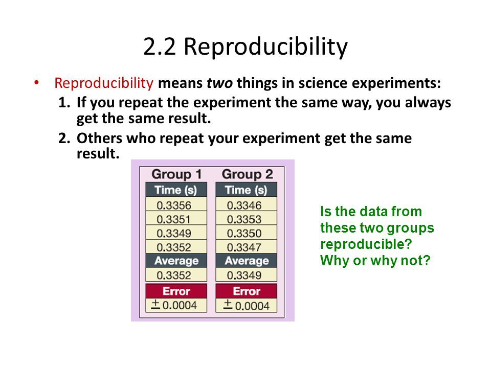 2.2 Reproducibility Reproducibility means two things in science experiments: