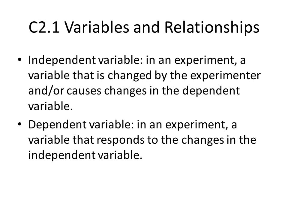 C2.1 Variables and Relationships