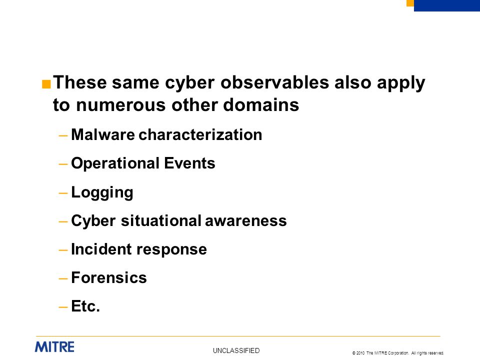 These same cyber observables also apply to numerous other domains
