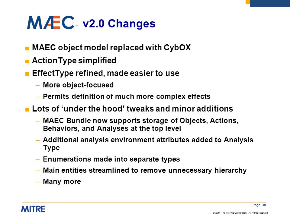 v2.0 Changes MAEC object model replaced with CybOX