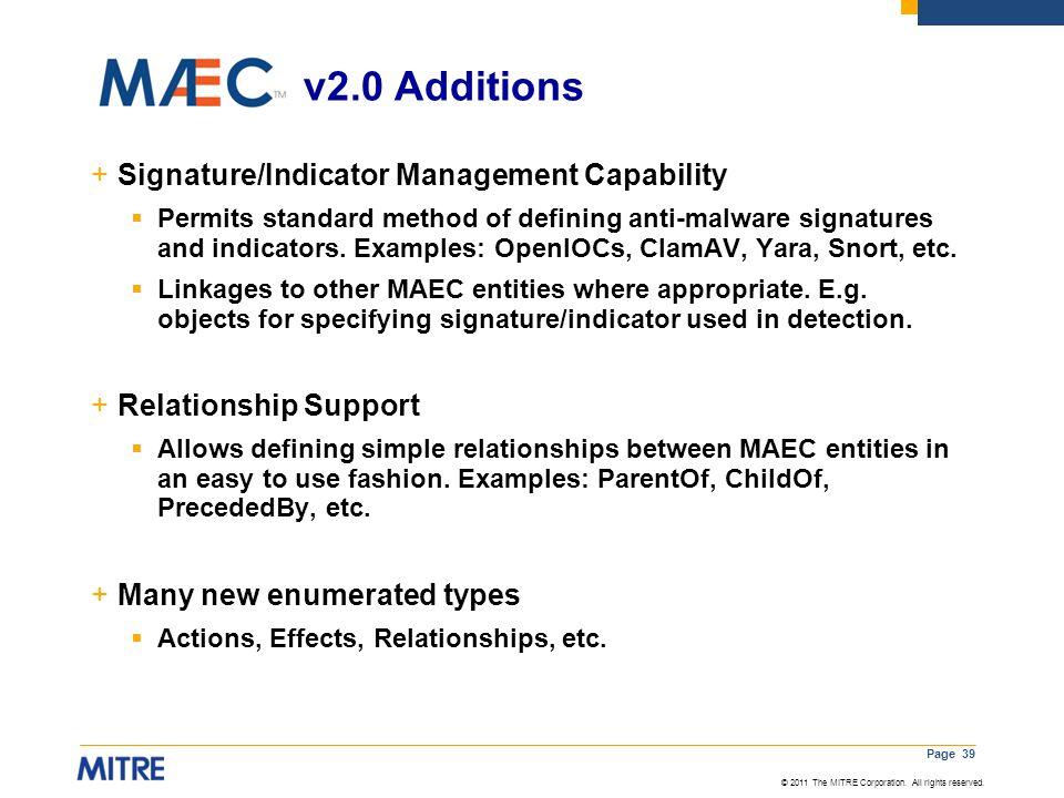 v2.0 Additions v Signature/Indicator Management Capability