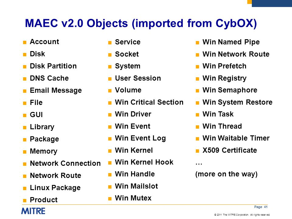 MAEC v2.0 Objects (imported from CybOX)