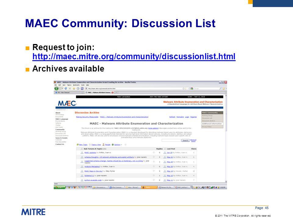 MAEC Community: Discussion List