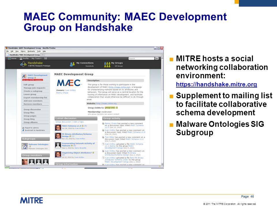 MAEC Community: MAEC Development Group on Handshake