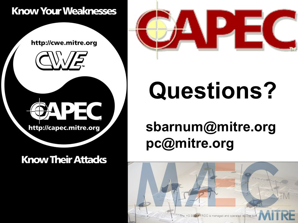 section title Questions sbarnum@mitre.org pc@mitre.org