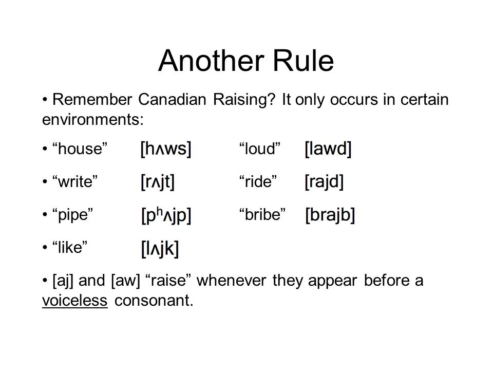 Another Rule Remember Canadian Raising It only occurs in certain environments: house loud write ride
