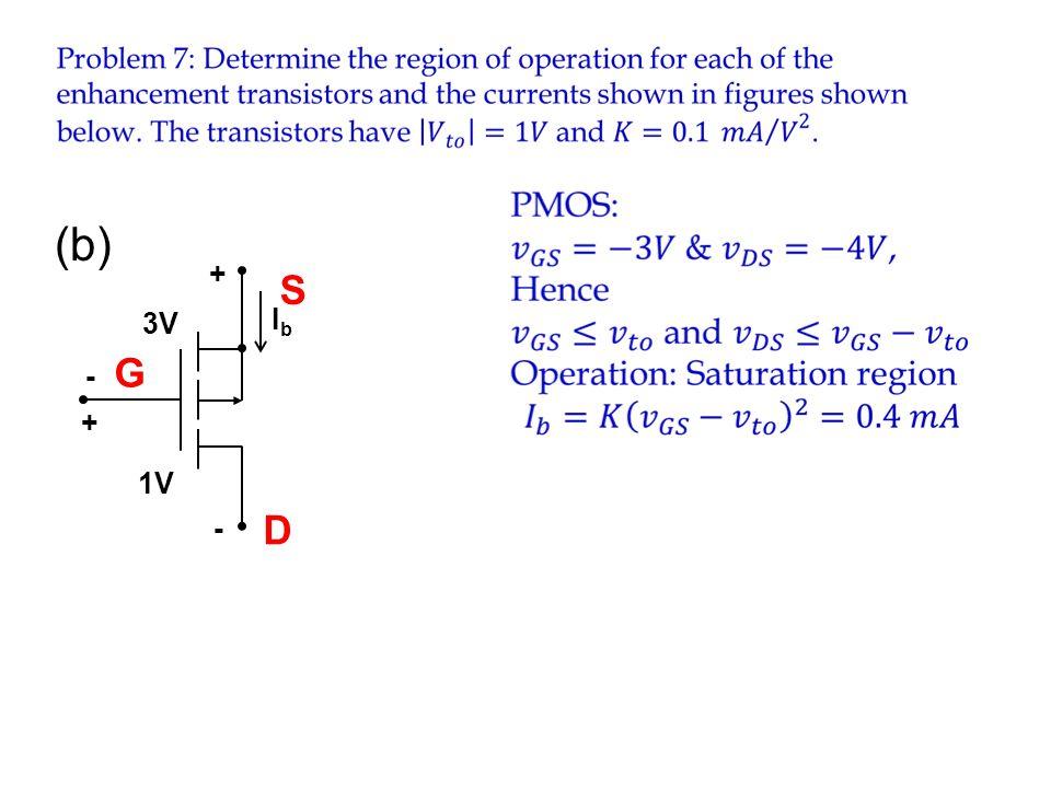 (b) Ib 1V - + 3V S G D