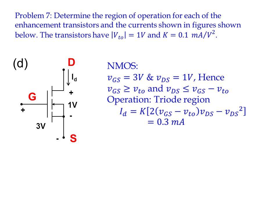 (d) D Id 3V - + 1V G S