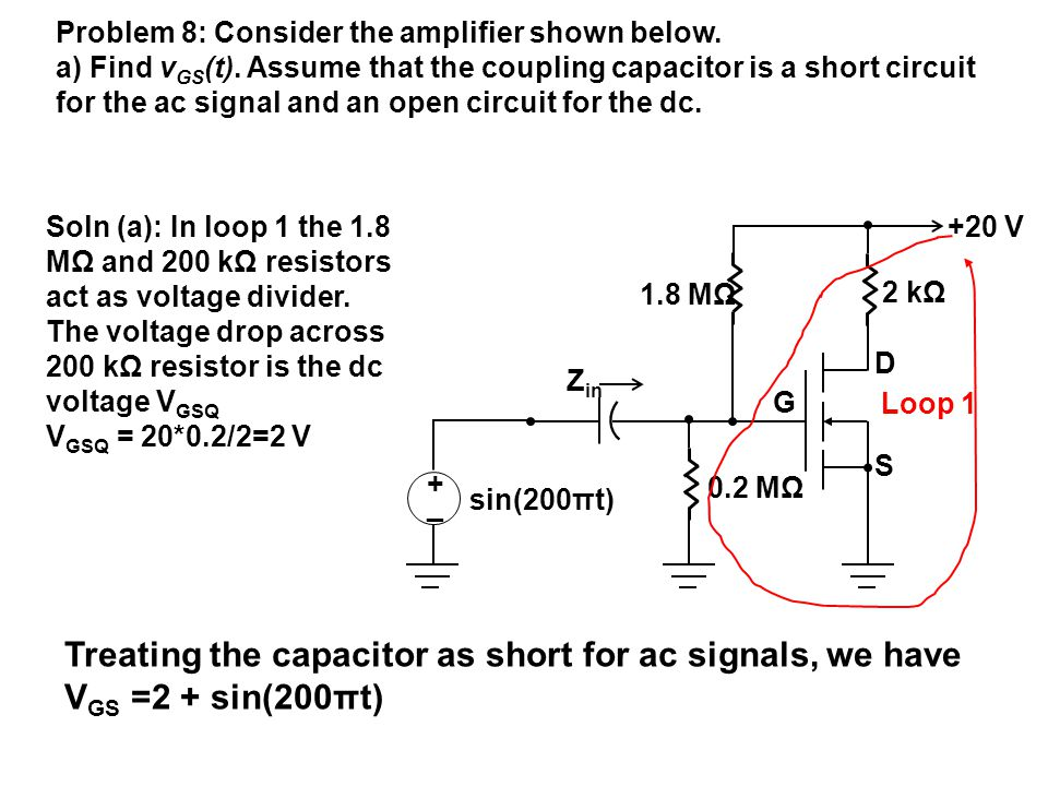 Treating the capacitor as short for ac signals, we have