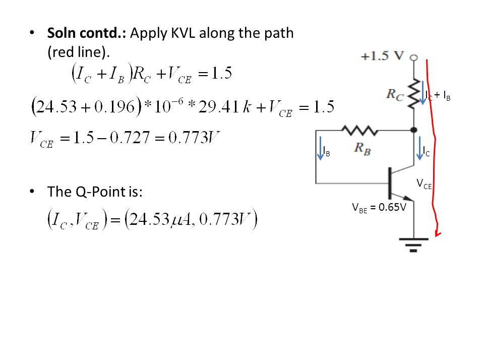 Soln contd.: Apply KVL along the path (red line).