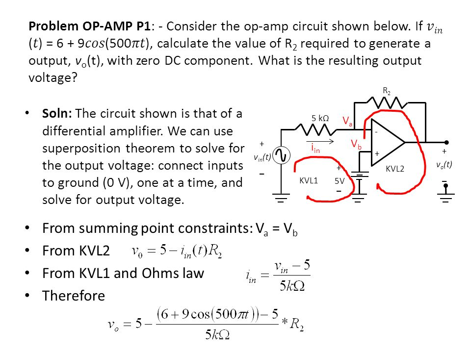 From summing point constraints: Va = Vb From KVL2