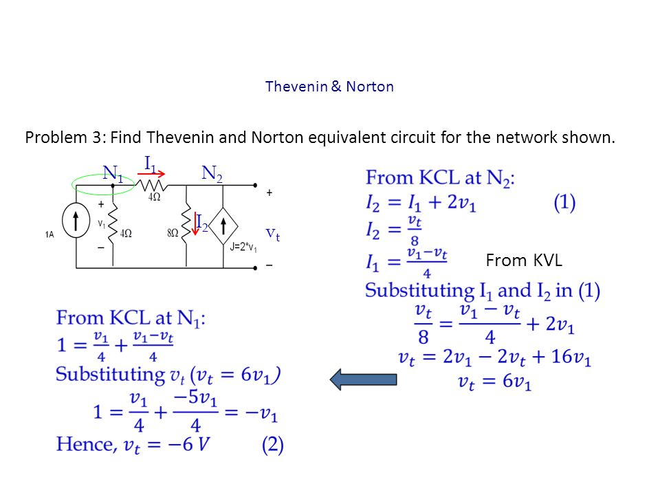 Thevenin & Norton Problem 3: Find Thevenin and Norton equivalent circuit for the network shown. I1.