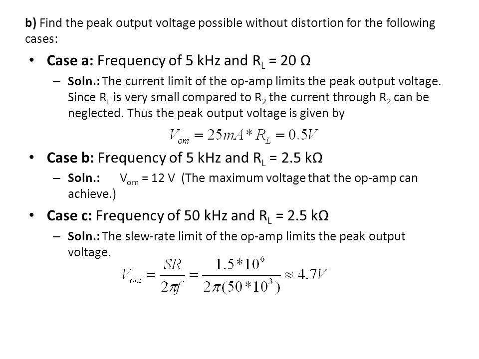 Case a: Frequency of 5 kHz and RL = 20 Ω