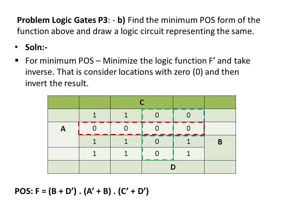POS: F = (B + D') . (A' + B) . (C' + D')