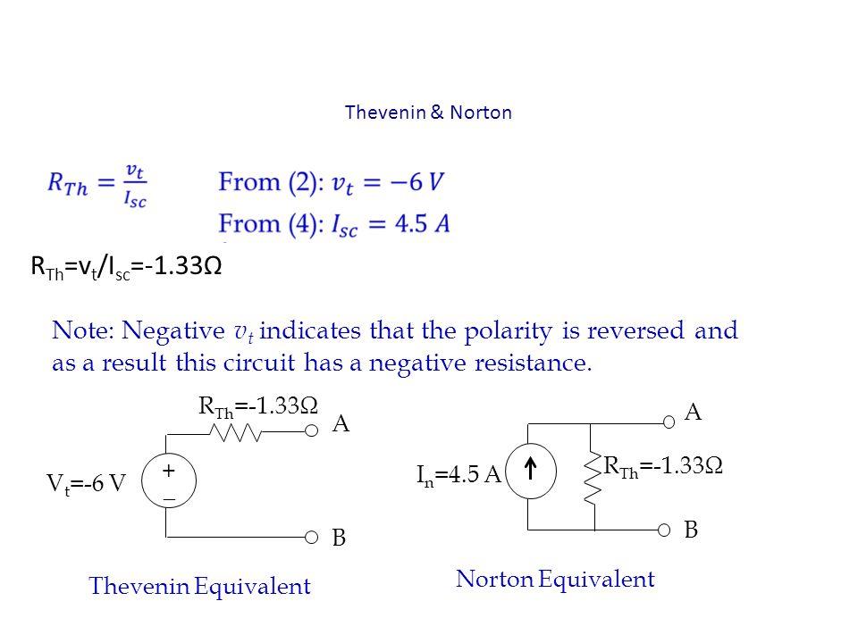 Thevenin & Norton RTh=vt/Isc=-1.33Ω.
