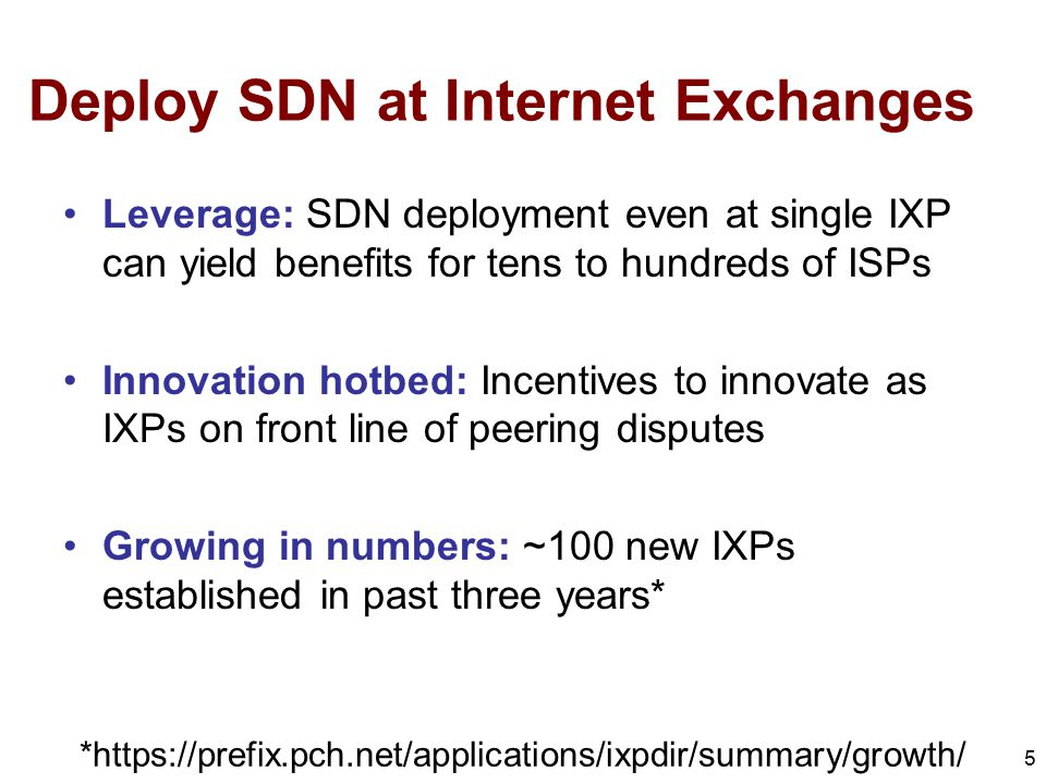 Deploy SDN at Internet Exchanges