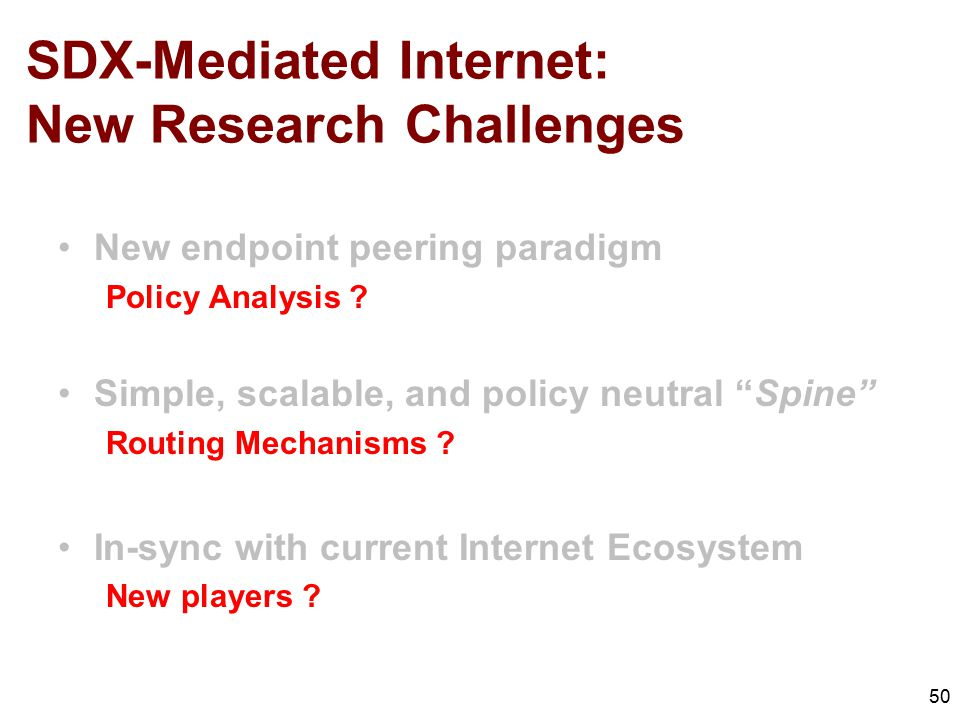 SDX-Mediated Internet: New Research Challenges