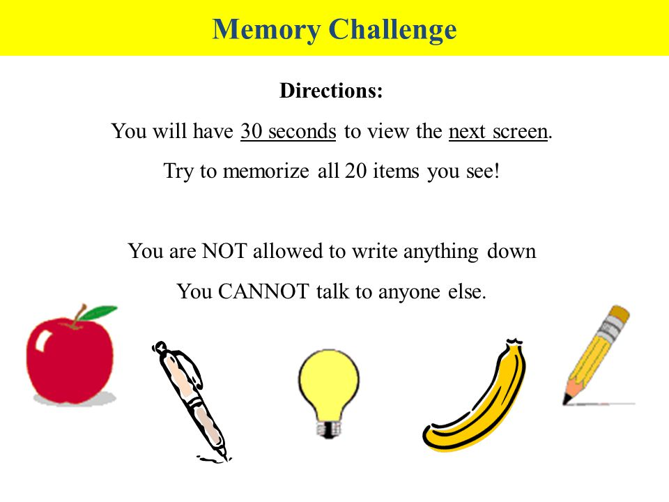 Memory Challenge Directions:
