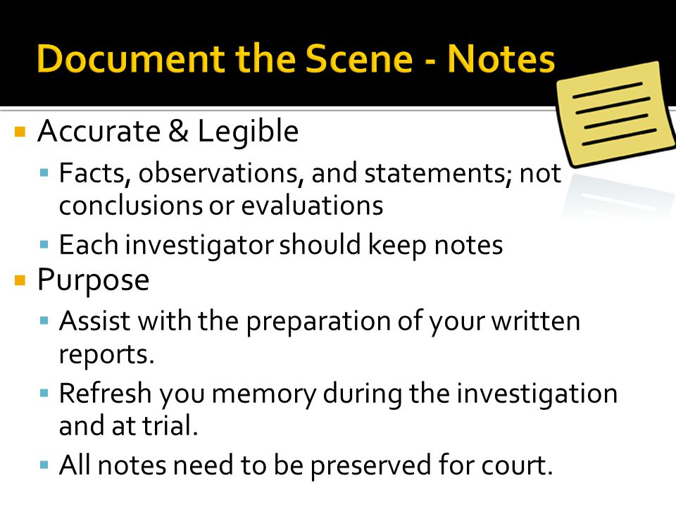Document the Scene - Notes