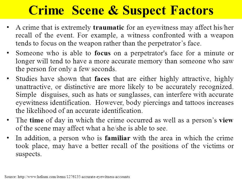 Crime Scene & Suspect Factors