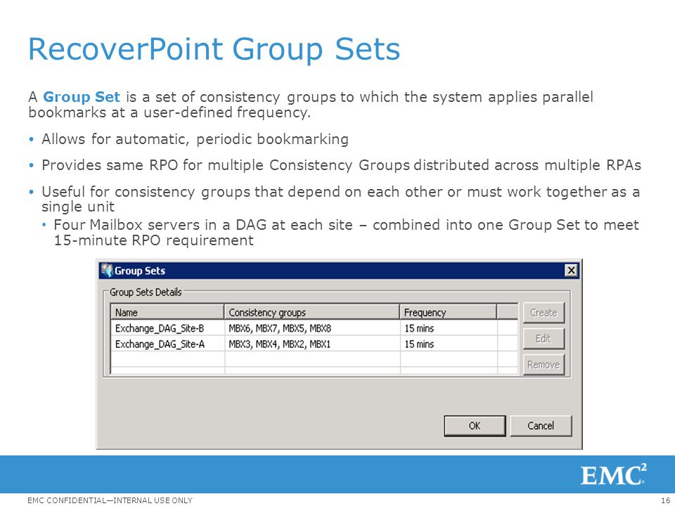 RecoverPoint Group Sets