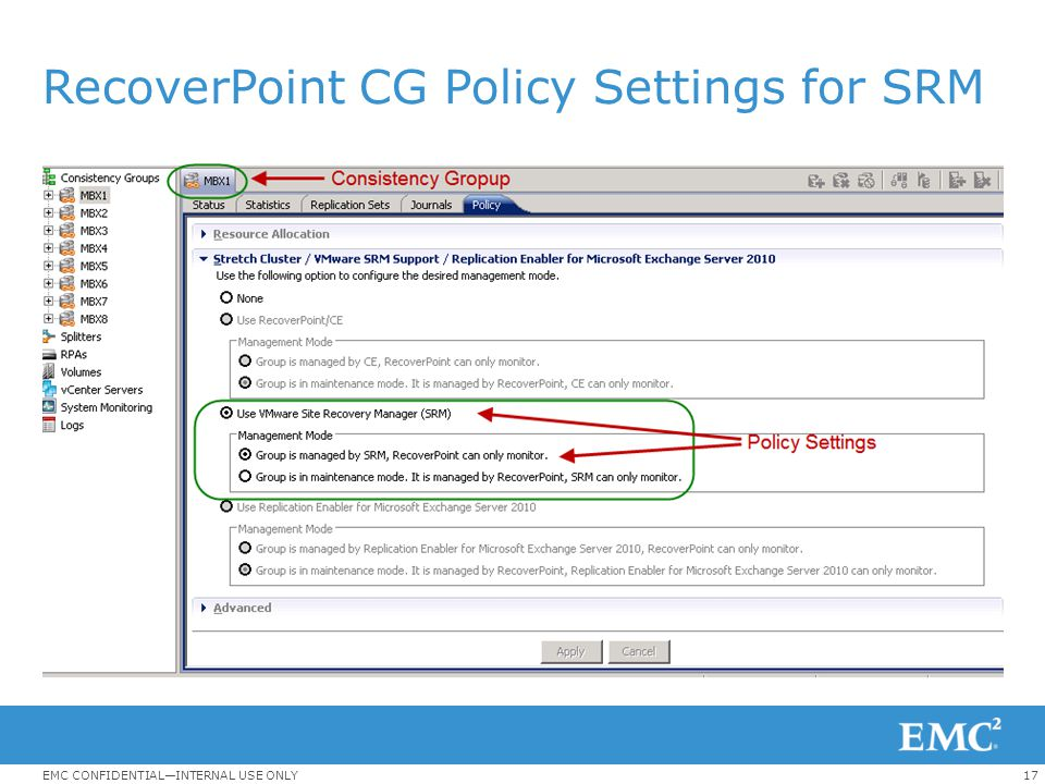 RecoverPoint CG Policy Settings for SRM
