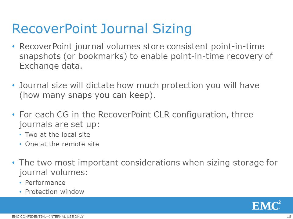 RecoverPoint Journal Sizing