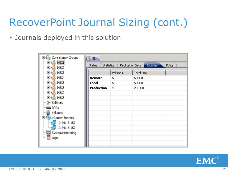 RecoverPoint Journal Sizing (cont.)