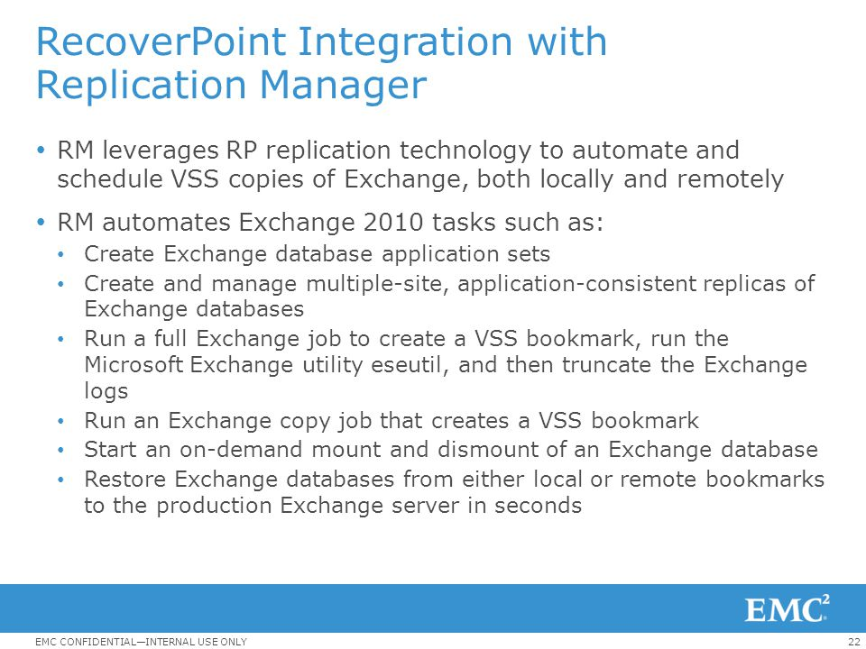 RecoverPoint Integration with Replication Manager