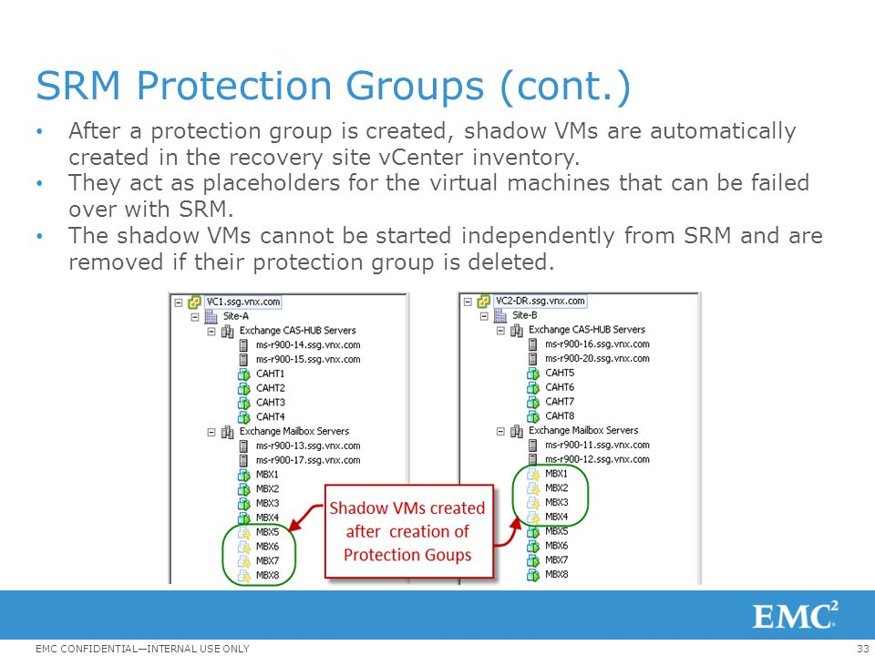SRM Protection Groups (cont.)