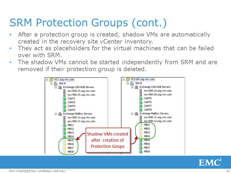 SRM Protection Groups (cont.)