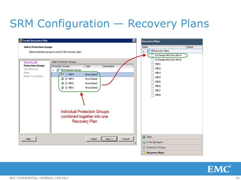 SRM Configuration — Recovery Plans