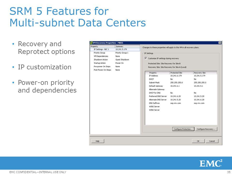 SRM 5 Features for Multi-subnet Data Centers