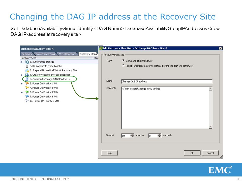 Changing the DAG IP address at the Recovery Site