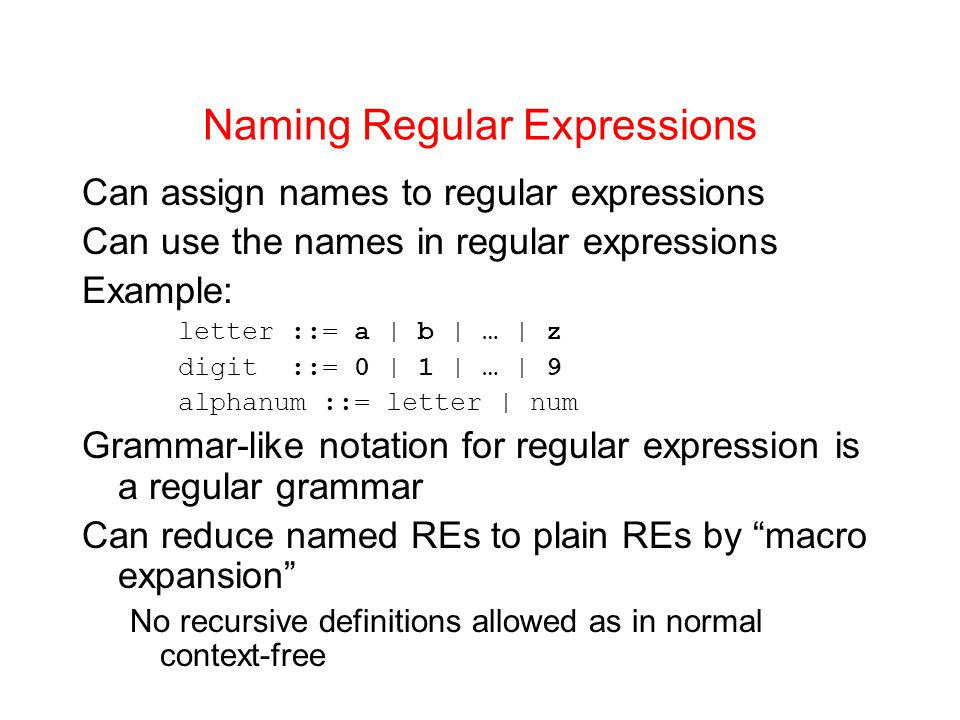 Naming Regular Expressions