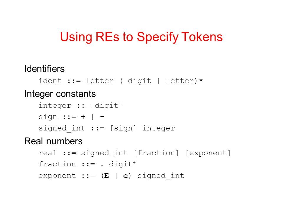 Using REs to Specify Tokens