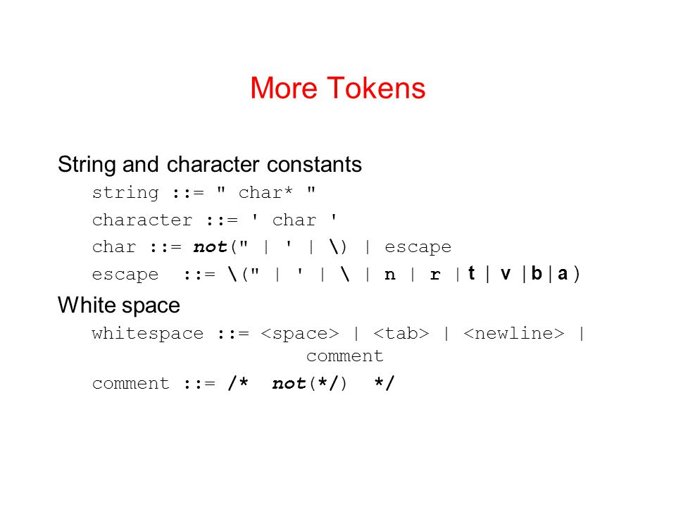 More Tokens String and character constants White space